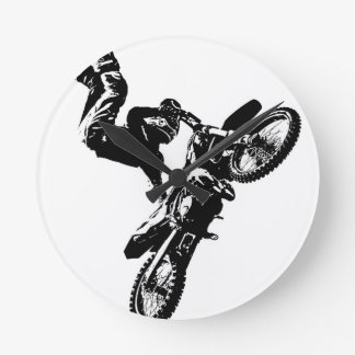 biker pop art motorcycle acrobatic speed sport round clock