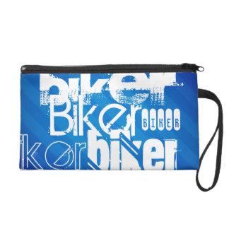 Biker; Royal Blue Stripes Wristlet Clutch