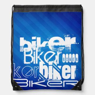 Biker; Royal Blue Stripes Drawstring Bags