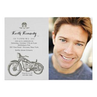 Biker s Birthday Photo Invitation