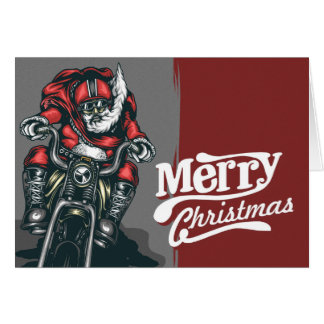 Biker Santa Christmas Greeting Card