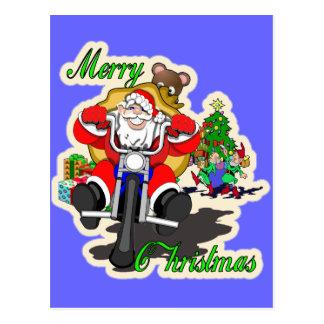 Biker santa postcard