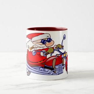 Biker Santa Two-Tone Coffee Mug