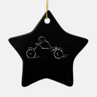 Biker showing road safety ceramic star decoration