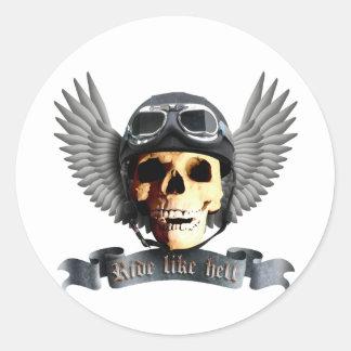 Biker Skull A Round Sticker