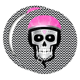 Biker Skull Day of the Dead or Halloween Party Card