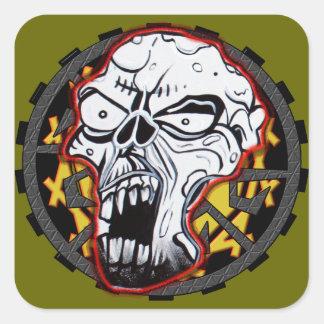 Biker Skull Square Sticker