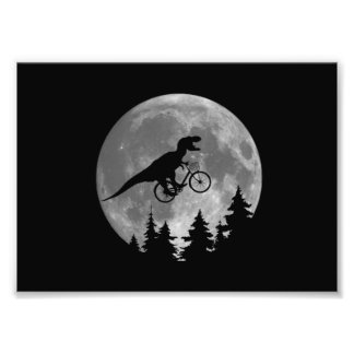 Biker t rex In Sky With Moon 80s Parody Photo