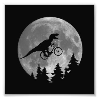 Biker t rex In Sky With Moon 80s Parody Photo Art
