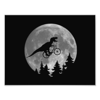 Biker t rex In Sky With Moon 80s Parody Photograph
