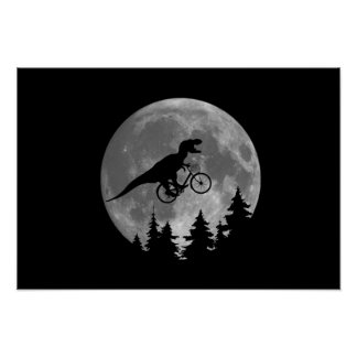 Biker t rex In Sky With Moon 80s Parody Poster
