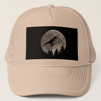 Biker t rex In Sky With Moon 80s Parody Trucker Hat