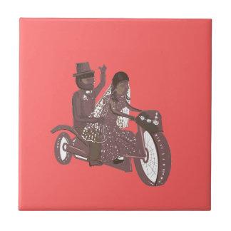 Biker Wedding Pink ceramic tile