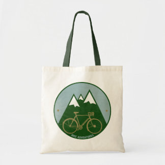 bikers adventure, mountains budget tote bag