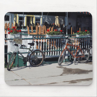 Bikes at cafe mousepad