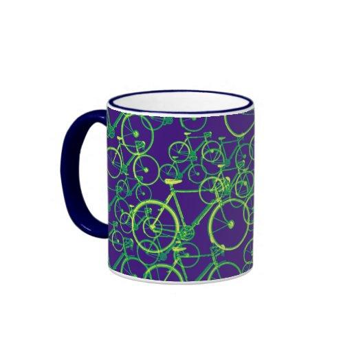 bikes: cycling-themed pattern mugs
