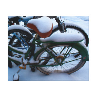 Bikes in the Snow Gallery Wrapped Canvas