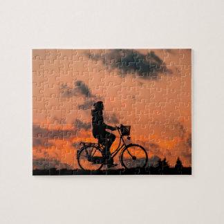 Biking at Sunset Jigsaw Puzzle