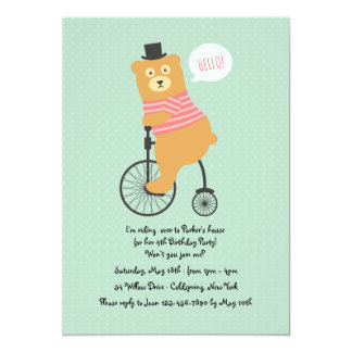 Biking Bear Invitation