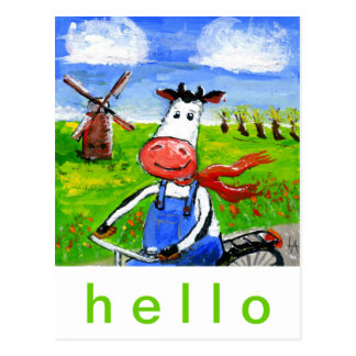 Biking Cow Postcard