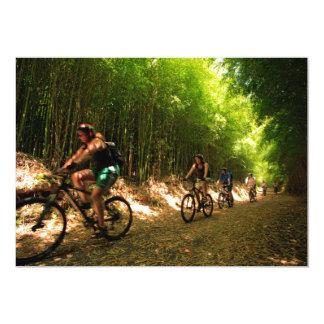 Biking in bamboo trail card