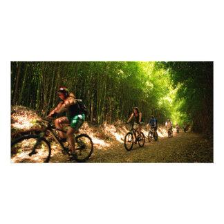 Biking in bamboo trail photo greeting card