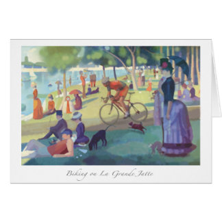 Biking on La Grande Jatte greeting card