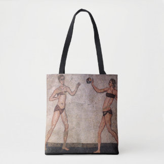 Bikini Beach Volleyball funny ancient mosaic Tote Bag