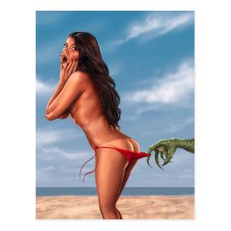 Bikini Girl and Sea Monster Postcard