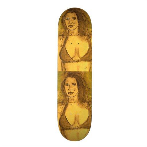 bikini girl walk skate board