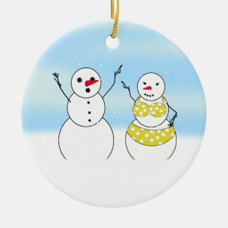 Bikini Time Snowmen Ceramic Ornament