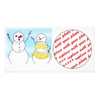 Bikini Time Snowmen Photo Card Template