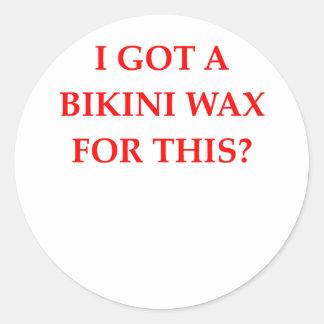 bikini wax classic round sticker
