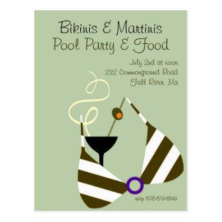 Bikinis and Martinis Pool Party Invitation Postcard