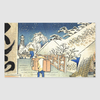 Bikuni Bridge in snow by Hiroshige.jpg Rectangular Sticker
