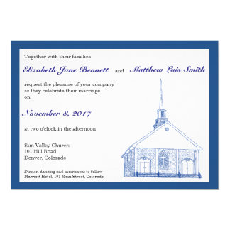 Bilingual Blue Chapel Wedding Invitation