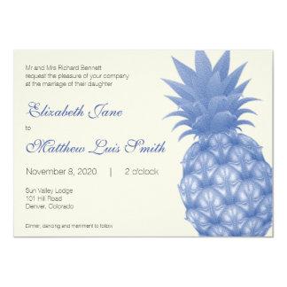 "Bilingual Blue Pineapple Wedding Invitation 4.5"" X 6.25"" Invitation Card"