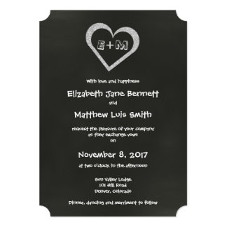 Bilingual Chalkboard Heart Wedding Invitation