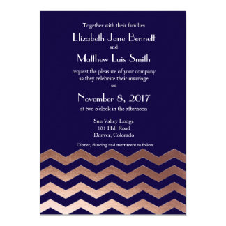 Bilingual Chic Rose Gold Chevron Wedding Invite