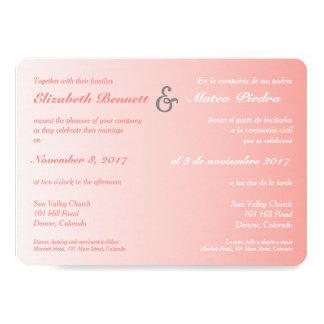 Bilingual Coral Ombre Wedding Invitation
