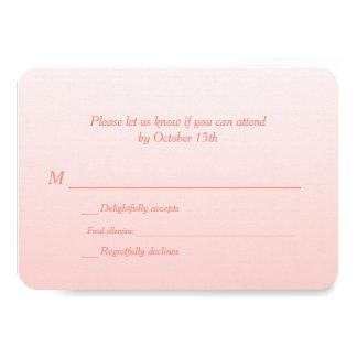 "Bilingual Coral Ombre Wedding RSVP 3.5"" X 5"" Invitation Card"