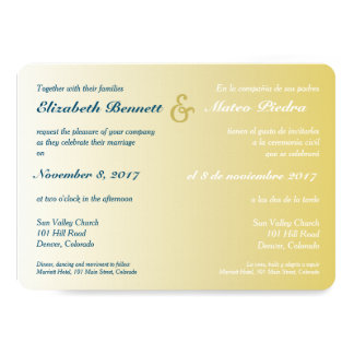 Bilingual Gold Ombre Wedding Invitation