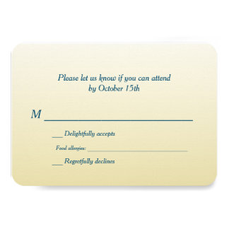 Bilingual Gold Ombre Wedding RSVP Card