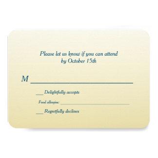 "Bilingual Gold Ombre Wedding RSVP 3.5"" X 5"" Invitation Card"