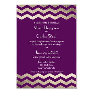 Bilingual Gold Shimmer Chevron Wedding Invitation