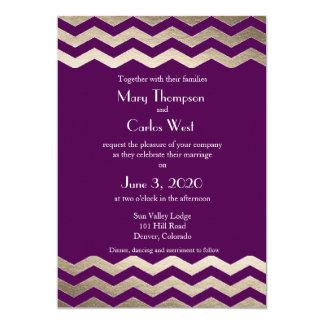 "Bilingual Gold Shimmer Chevron Wedding Invitation 5"" X 7"" Invitation Card"