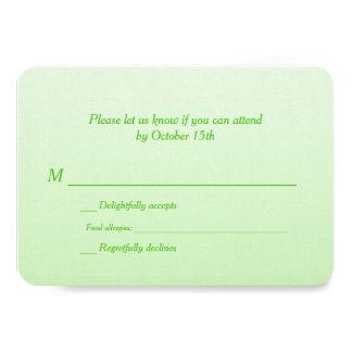 "Bilingual Green Ombre Wedding RSVP 3.5"" X 5"" Invitation Card"