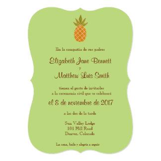 "Bilingual Pineapple Wedding Invitation 2-sided 5"" X 7"" Invitation Card"