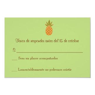 "Bilingual Pineapple Wedding RSVP 2-sided 3.5"" X 5"" Invitation Card"