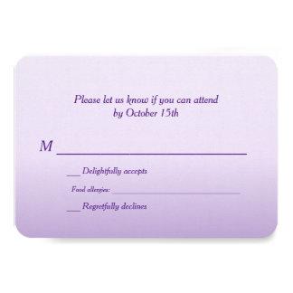 "Bilingual Purple Ombre Wedding RSVP 3.5"" X 5"" Invitation Card"